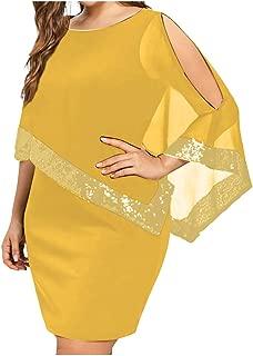 Women Plus Dress Bxzhiri V-Neck Sequin Bodycon Asymmetric Party Dress