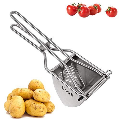 KENNOE Kartoffelpresse Edelstahl, 30.5 cm kartoffelpresse küchenprofi kartoffelstampfer, Triangel Kartoffelquetsche für Kartoffelpüree Obstsäfte Gemüsebrei Püree rostfrei spülmaschinenfest