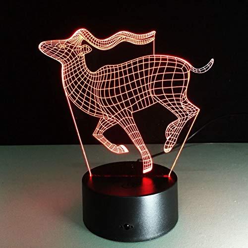 shiyueNB Running Deer 3D LED Lampe Créativité Kleine Bureaulamp Visuel Nachtlampje USB Kleur veranderende Licht ALS Cadeau Cadeau