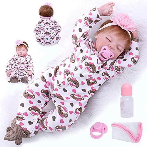 Ziyiui - Muñeca reborn de bebé niña, silicona flexible, vinilo a mano, 55 cm