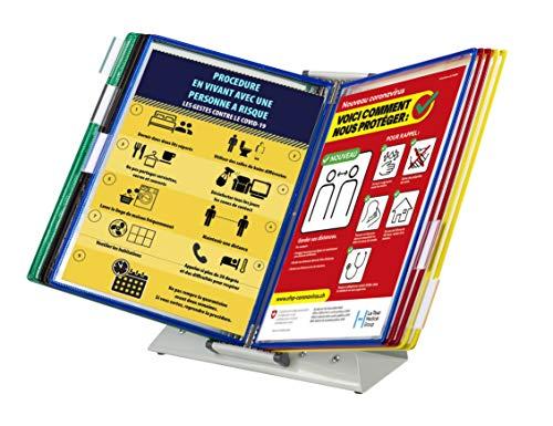 Tarifold Es 434129 - Expositor de sobremesa | Kit atril antimicrobiano Sterifold con 10 fundas A4 para consulta y presentación de documentos, marcos de colores surtidos