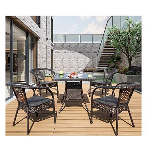 DYYD Juegos de Muebles de jardín Muebles de Exterior Ratan Patio de Muebles de la Familia de césped Muebles de Exterior Mesa de café Conversación Patio al Aire Libre