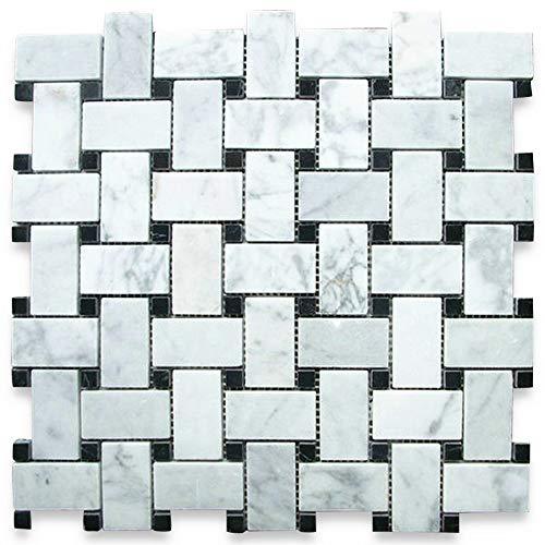 Carrara White Italian Carrera Marble Basketweave Mosaic Tile Black Dots 1 x 2 Polished