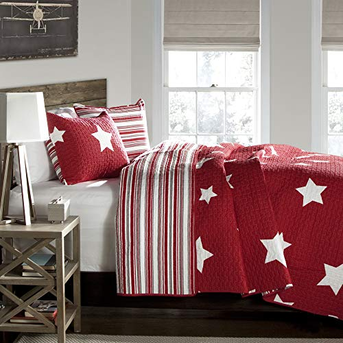 Lush Decor Red Star Quilt-Reversible 2 Piece Pattern Striped Bedding Set with Pillow Shams, Twin