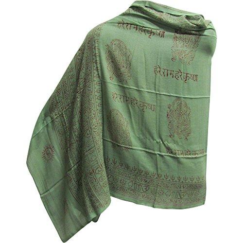 Indian Ganesh Om Meditation Yoga Altar Cloth Prayer Shawl Scarf (Olive Green)