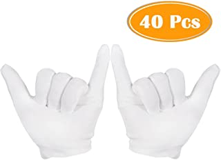 Paxcoo 20 Pairs Medium White Cotton Gloves for Cosmetic Moisturizing and Coin Inspection
