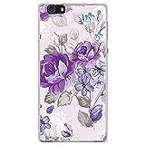 BJJ SHOP Funda Transparente para [ Elephone M2 ], Carcasa de Silicona Flexible TPU, diseño: Flores Violeta, Estilo Parisino