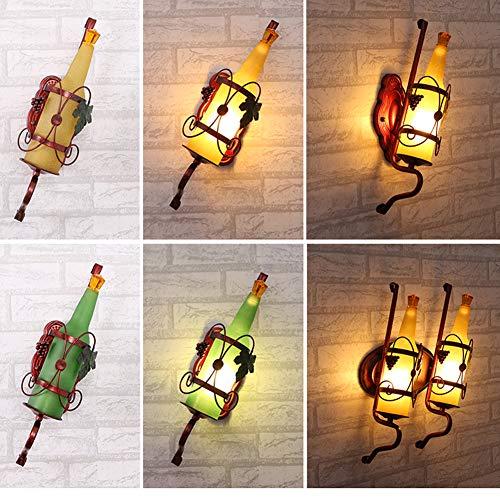 LED Retro Wine Bottle Background Muur Bedside-Wall Lamp Creativeiron Kaarshouder Wall Art Candle Opknoping Kandelaar Thuis Decoration1pcs,Pink + 6 Watts
