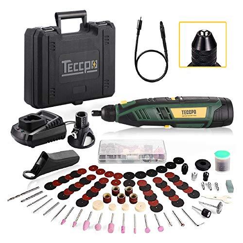Mini Amoladora 12V Sin Cable, TECCPO Herramienta Rotativa Eléctrica 2.0Ah y Cargador rápido, 5000-28000RPM, 80 Accesorios,...