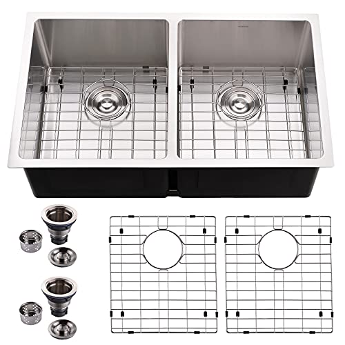 HOROW 32-inch Undermount 50/50 Double Bowl 16 Gauge Stainless Steel Kitchen Sink, Large Basin Drop in Sink with Bottom Rinse Grid and Basket Drain Strainer