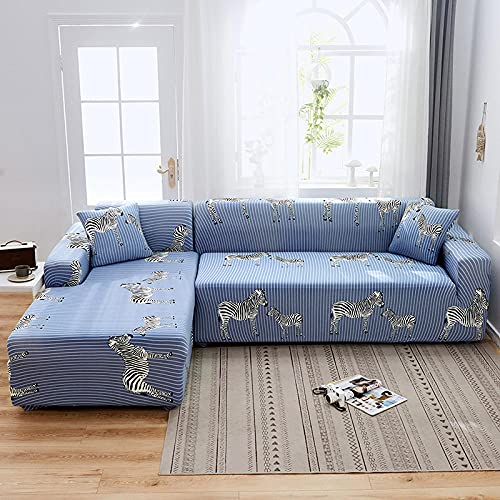 Fsogasilttlv Sofa Covers Checks Durable 4 Seater and 4 Seater,Elastic All-Inclusive Sofa Cover, Four Seasons Universal L Sofa Cushion Protective Furniture Cover 235-300cm and 235-300cm(2pcs)