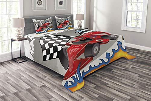 Colcha Cars, coche de carreras con piloto de banderas de línea de meta y llamas con estampado de fondo gris abstracto, juego de colcha decorativa acolchada de 3 piezas con 2 fundas de almohada, funda