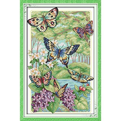 Everlasting Love Weihnachten Schmetterlinge Fliegen In Den Wald Chinesischen Kreuzstich Kits Ökologische Baumwolle Kreuzstich Stickpackungen ( Cross Stitch Fabric CT number : 11CT stamped product )