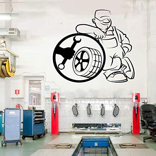 Pegatinas de pared para niños, citas, servicio de montaje de neumáticos, logotipo de taller de coches, baño, sala de estar, mural para niños, decoración de fondo, baños para el hogar, niños, 47x42cm