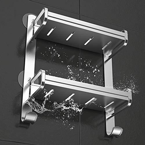 Orimade Estante de Baño Adhesivo Montado en Pared de Ducha Carrito Inoxidable Balda de Almacén Organizador de Aluminio Sin Taladro - 2 Niveles