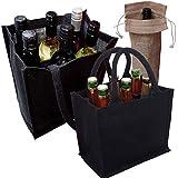 Élégant-Naturel-Fort Jute-Hessian-2 Sacs de transport de bouteilles de vin et de bière DIVISEURS amovibles Chaque sac peut contenir 6 bouteilles Idéal Party, sac de transport gratuit pour wine