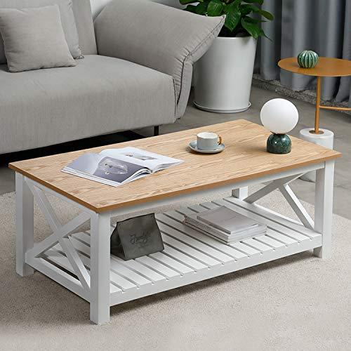 "CharaVector Farmhouse Coffee Table ,Rustic Vintage Cocktail Table ,Modern Wooden Design Oxford Coffee Table with 2-Tier Open Storage Shelves for Living Room,47.2""x 23.6""(Light Brown and White)"