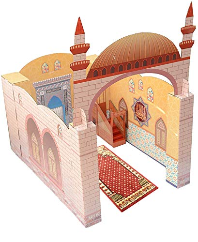 My Portable Playhouse Masjid for Muslim Kids - Educational Interactive Toy for Learning Praying, Quran Book, Pray and Islam - Teach Salah with Prayer Mat/Rug/Carpet - Best Islamic Gift for Children
