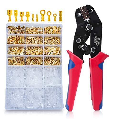 Crimpzange Flachsteckhülsen Set Mit 600 Stück Kabelstecker 0,5-1,5mm², HOMCA Crimpwerkzeuge Set Ferrule Crimper,Crimpzangen Aderendhülsen Set Für 2.8/4.8/6.3mm Crimpklemme