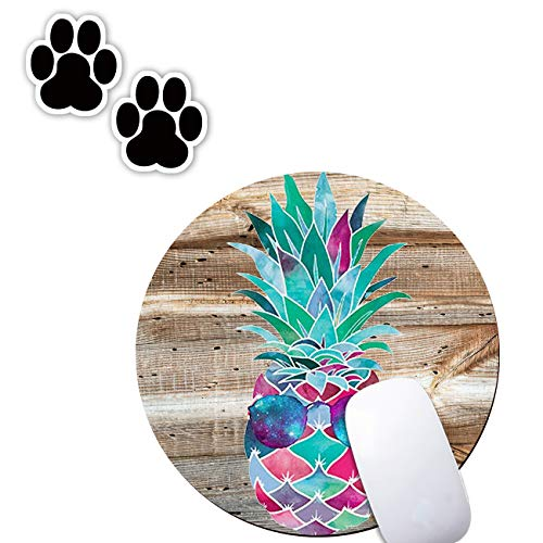 Round Gaming Mouse Pad, Funny Pineapple Custom Small Cute Mousepad, Non-Slip Rubber Computer Gaming Mouse Pad Mat for Dorm Home Office Desk (with Dog-Paw Laptop Sticker Gift)