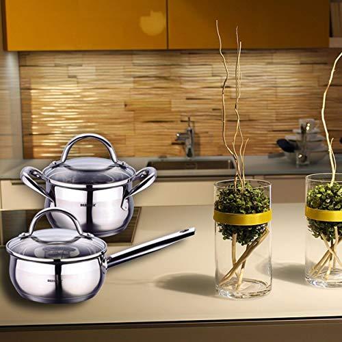 Bergner Gourmet - Sets de poêles et casseroles acier inoxydable avec couvercle bon pour l'induction