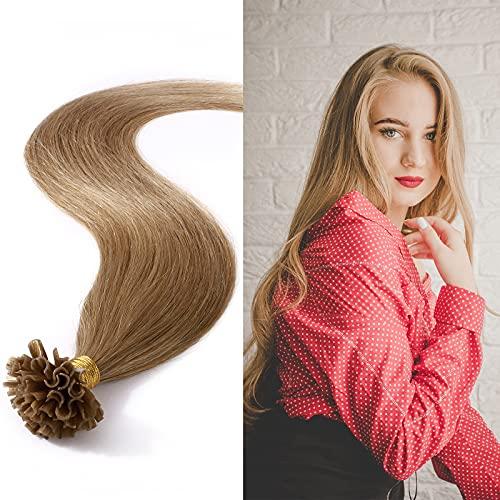 Silk-co 45cm Extension Capelli Veri Cheratina 1g * 50 Ciocche U Tip #27 Biondo Scuro Lisci Punte Piene 50g Remy Human Hair Extension Keratina