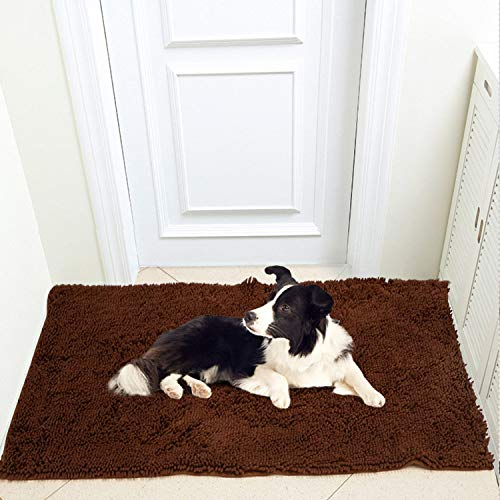 Meilocar 31''x59'' Pet Dog Mat Ultra Absorbent Soft Floor Mat, Pet Bed Mat/Rug for Dogs & Cats, Bathroom Non-Slip Doormat, Machine-Washable,Brown