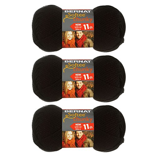 Bernat Softee Chunky 3-Pack Yarn - (6) Gauge 100% Acrylic - 2.8 oz -Black - Machine Wash & Dry