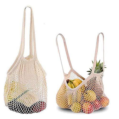 Wiederverwendbare Netz-Baumwoll-Netztasche, Organizer für Obst, Gemüse, Spielzeug, Lebensmittel, und Supermarkt-Aufbewahrung, long+short