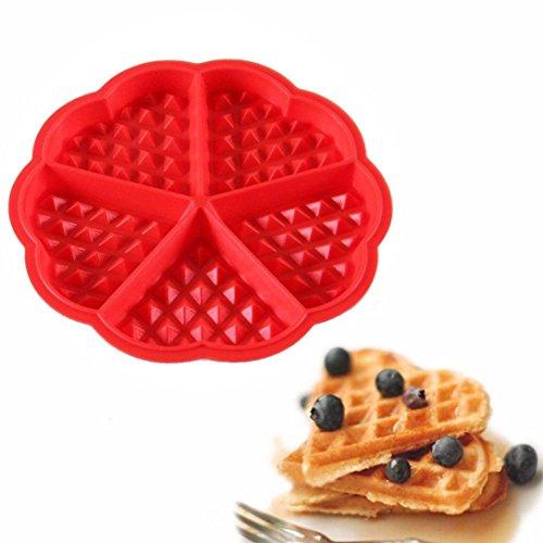 Winkey Moule à gâteaux/gaufres, moule rouge en silicone, idéal pour muffins, gâteaux au chocolat, etc., ustensile de cuisine pour pâtisserie
