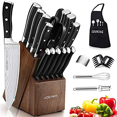 Knife Set, 22 Pieces Kitchen Knife Set with Block Wooden, Germany High Carbon Stainless Steel Professional Chef Knife Block Set, Ultra Sharp, Forged, Full-Tang from AOKIWO