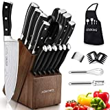 Knife Set, 22 Pieces Kitchen Knife Set with Block Wooden, Germany High Carbon Stainless Steel Professional Chef Knife Block Set, Ultra Sharp, Forged, Full-Tang (Black)