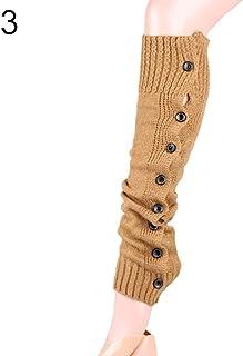 GAOYUE 1 par Moda Mujer Invierno T Calentadores de Pierna Bota Tejida a Ganchillo Color sólido calcetín Largo diseño Moderno, Caqui