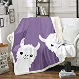 Pair Alpaca Sherpa Throw Blanket Lovely Cute Lilac Bed Fleece Blanket Casual Style Throw Size (50inchx60inch) Soft Throw Blanket for Sofa Couch Decorative