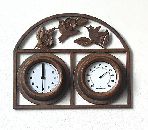 Tuin woonkamer slaapkamer gietijzeren klok klassieke klok thermometer metalen wandklok, A