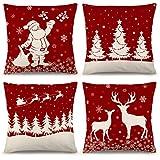 Juego de 4 fundas de almohada de Navidad YGEOMER de 18 x 18 pulgadas, juego de 4 fundas de almohada de lino rústico para sofá, sofá, sofá, juego de 4 decoraciones de Navidad