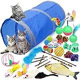 Vanplay Juguetes Gatos Interactivos 32 Piezas con Tunel, Ratones, Catnip, Pescado, Pelotas para Gatos
