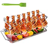 Chicken Leg Wing Grill Rack, BBQ Chicken Drumsticks Rack Stainless Steel Roaster Stand with Drip...