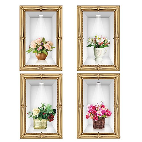 winhappyhome 3D Simulation Vases Art Mural Stickers pour chambre salon Entrée Chambre d'enfant chambre fond amovible Decor Nail Art