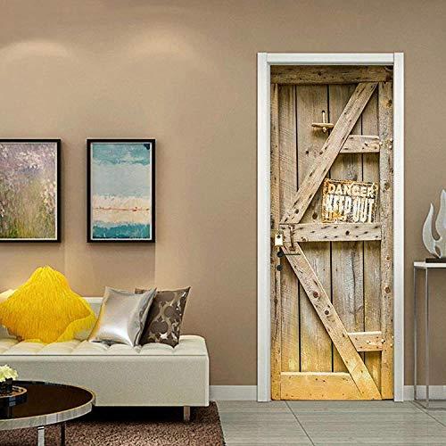 JIANXIQT Deurstickers voor binnendeuren, citaat muurstickers 3D Oude Simulatie Houten Deur Stickers Pvc Waterdichte Abstract Art Decal Voor Woonkamer Slaapkamer Huisdecoratie 77x200cm