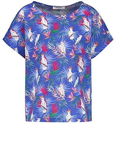 Gerry Weber Damen Blusenshirt Mit Dschungelprint Ausgestellt Blau-Pink-Grün-Weiß 46