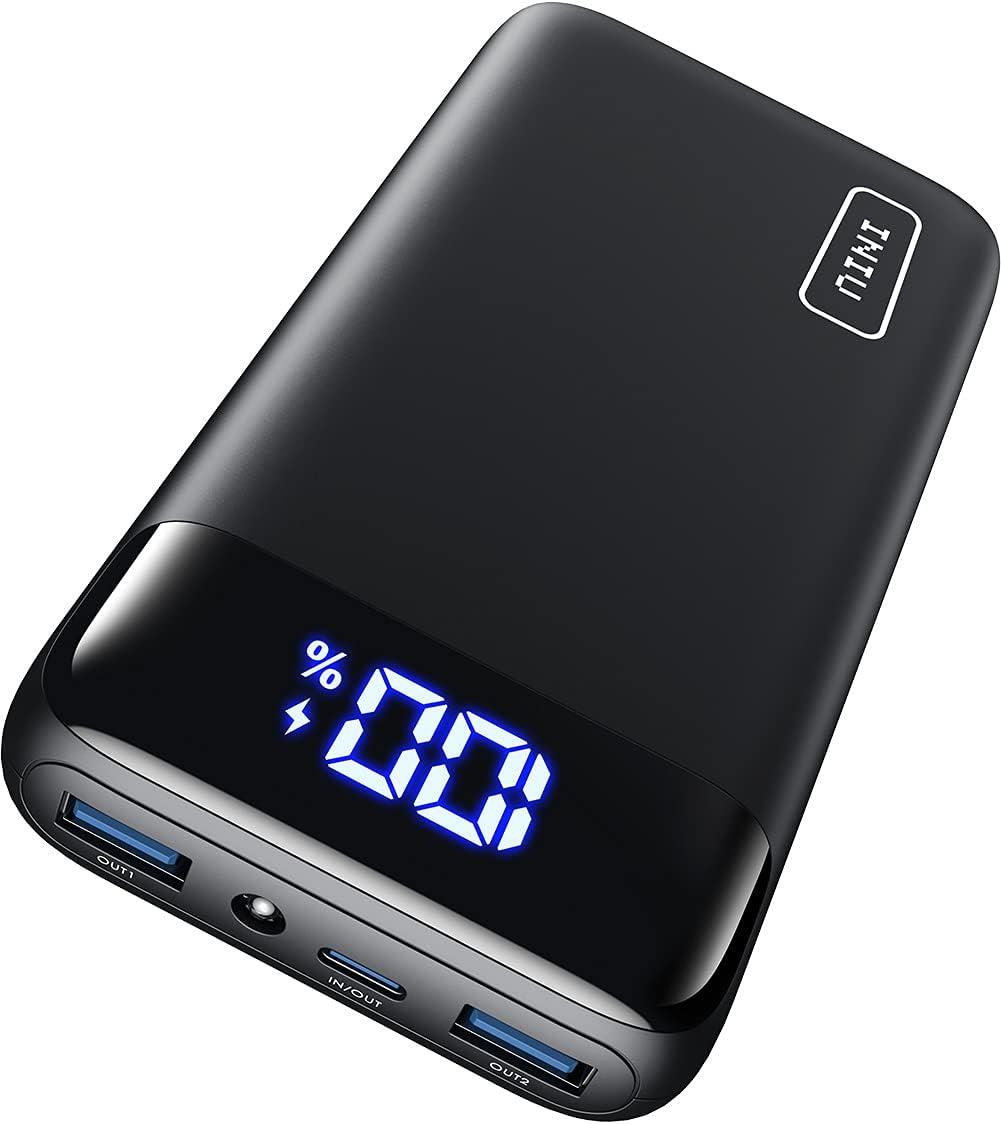 INIU Portable Charger, 20W PD3.0 QC4.0 Fast Charging LED Display Black