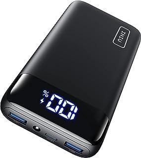 INIU Powerbank, 20W PD3.0 QC4.0 Schnelles Aufladen 20000mAh LED Display Externer Akku, Tri-Outputs USB C Power bank Kompat...