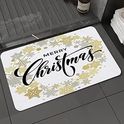 Alfombra de baño y Alfombra antideslizanteStar Flake Feliz Navidad Año Guirnalda Blanco Letras Festivas Dibujado Plata CelebracióAlfombrilla de Ducha de Microfibra (50x80cm)