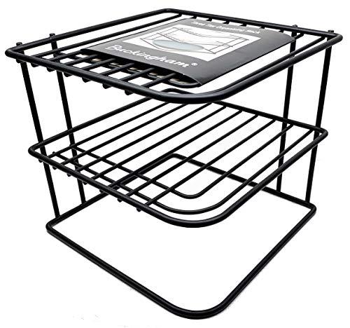 Buckingham Premium 3 Tier Corner Plate Kitchen Cupboard Organiser, Storage Rack, Steel, Black, 22.5 cm