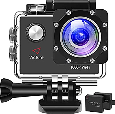 Victure Action Camera Full HD 1080P Wifi Waterproof Underwater Camcorder 2 LCD 170 Degree Ultra Wide Angle 30 m Sports Helmet Cam with 2 Batteries and Free Accessories