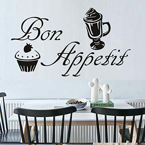 Tianpengyuanshuai muurstickers, Frans, Bon Appetit, woord, letters, ramen, vinyl, keuken, restaurant, decoratie voor ijsgebak
