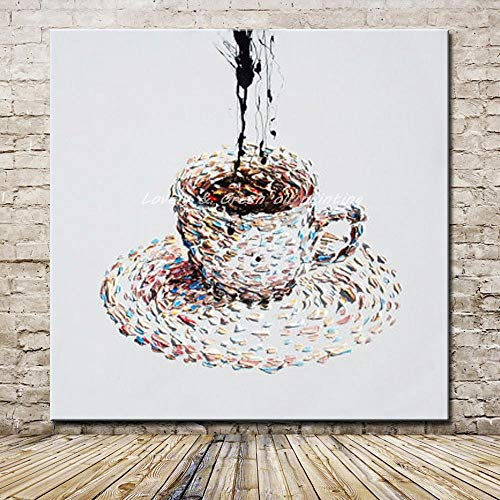 ZHUAIBA Handgemalte Cartoon Ölgemälde auf Leinwand Moderne Abstrakte eine Tasse Kaffee Ölgemälde Wandkunst Bilder für Hotel Dekoration 100x100 cm