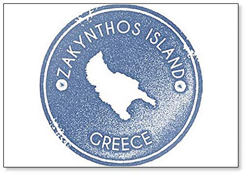 Griekenland Zakynthos Island kaart Vintage. Retro-stijl. - Koelkast magneet