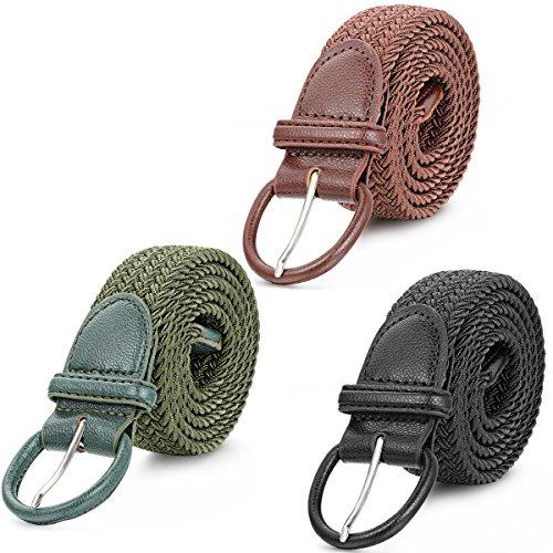 JewelryWe 3 stuks unisex riem canvas gevlochten stoffen riem voor dames en heren gesp jeansriem broekriem belts zwart koffie groen